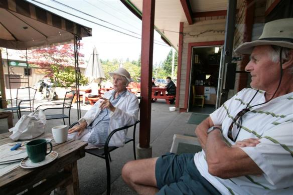 Bert and our friend Shendra, enjoying coffee at the Copper Sky cafe.