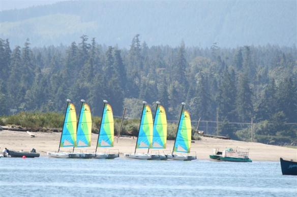 Every day, these sailboats are brought to the spit, so the kids can learn and have fun.