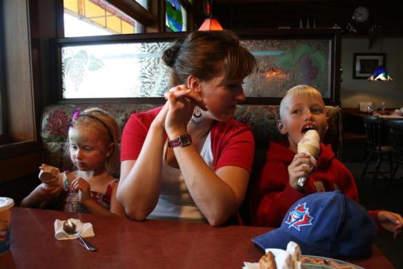 Karen with two ice cream eating munchkins!!