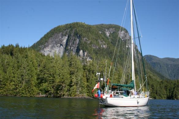 Curtsy, anchored in Simoom Sound, in the background Bald Mountain.