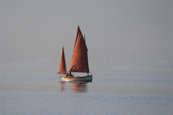 a foggy sailing day.