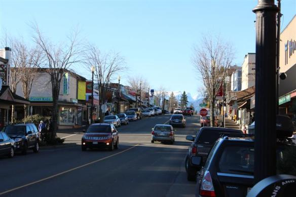 Downtown Courtenay with the Comox glacier in the background.