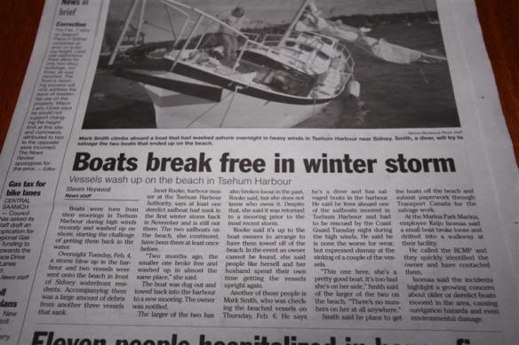 Newspaper article about the winter storm.