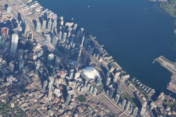 Flying over downtown Toronto, i used to work and live there.