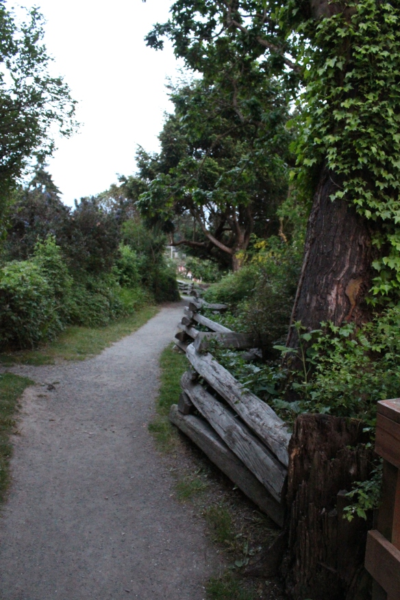 a small path leads around the waterside