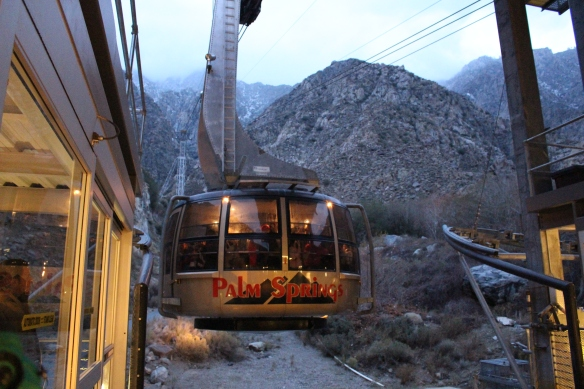 Tram, coming up the mountain.
