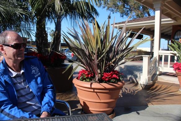 "Roel enjoying his ""bakkie"" coffee, sitting in the Encinitas sunshine!!"