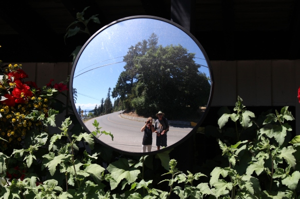 Selfies in the road mirror on the way to Capernway.