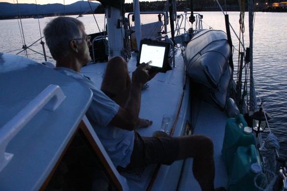 At sunset, Bert relaxing on deck.