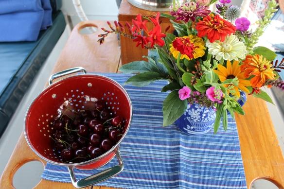 Beautiful cut flowers from Sieffert farm,and whatever is left of the cherries.....sooooo good!!!!!