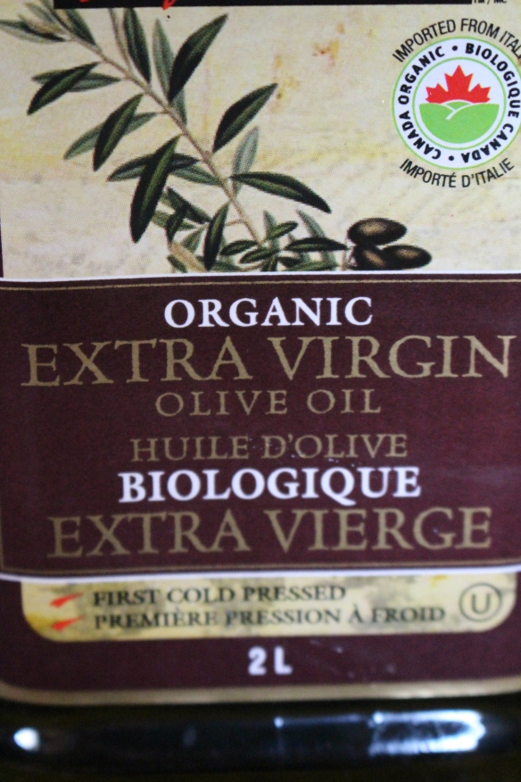 Organic, cold pressed olive oil.
