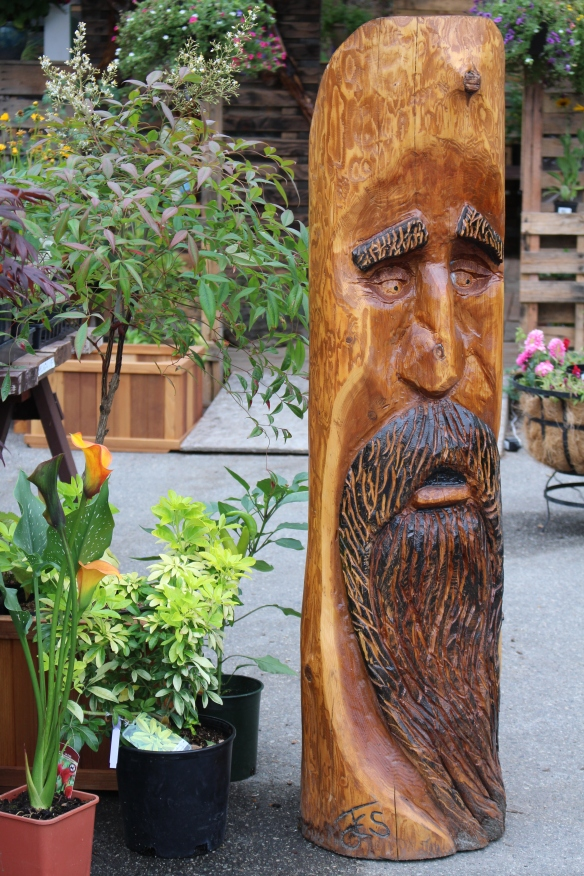 Lots of beautiful plants for sale at the garden center, but also this stern looking fellow!