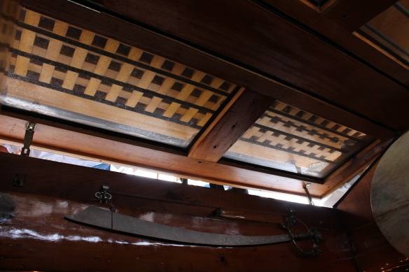 The main hatch, it is definitely  quite dark down below, most of the older wooden vessels are. some light comes through this hatch, but it also   has a beautiful teak cover overtop.