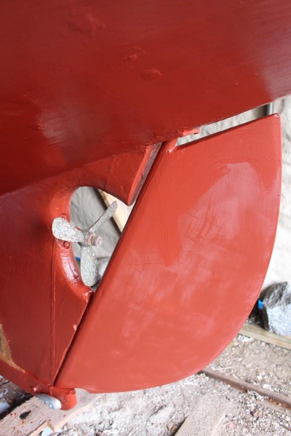 Her beautiful repaired rudder, freshly painted.