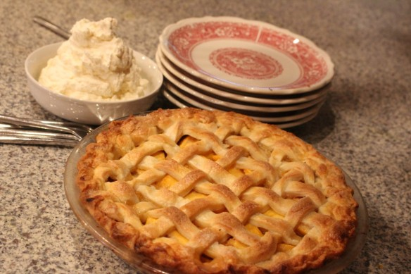 peach pie with whipping cream, you just cant go wrong!!!!!