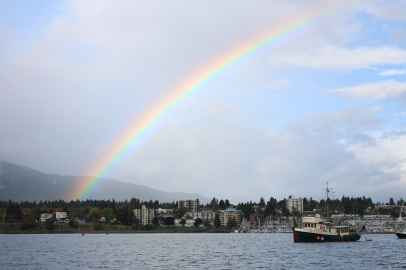Before the storms.... rainbow over Nanaimo harbour.