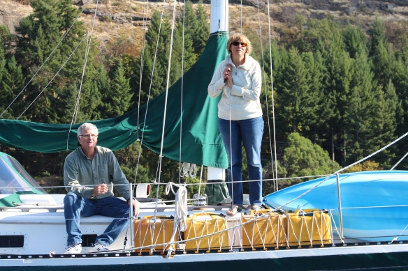 Our friends, Nick and Darcee, on their sailboat, KYAN II.
