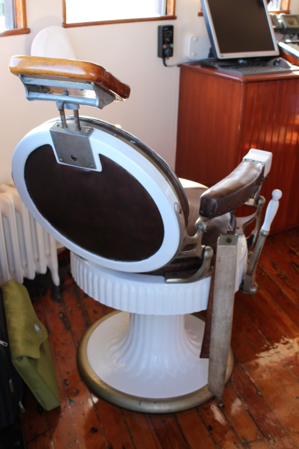 The barber chair, up in the wheel house, not sure if they use it , maybe for  the crew.......