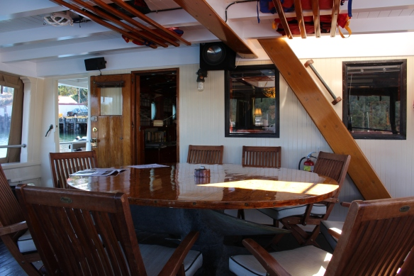 The aft deck, great place to get to know your fellow passengers.