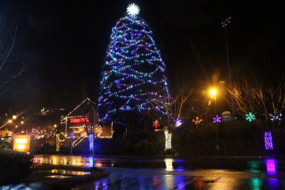 Christmas downtown Ladysmith, on a very rainy night.